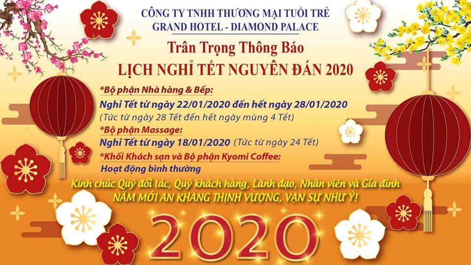 Thông báo lịch nghỉ Tết Nguyên Đán 2020 tại Grand Hotel - Diamond Palace